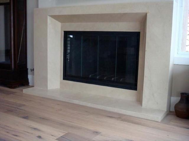Honed Natural Limestone Slab Fireplace Modern Seattle