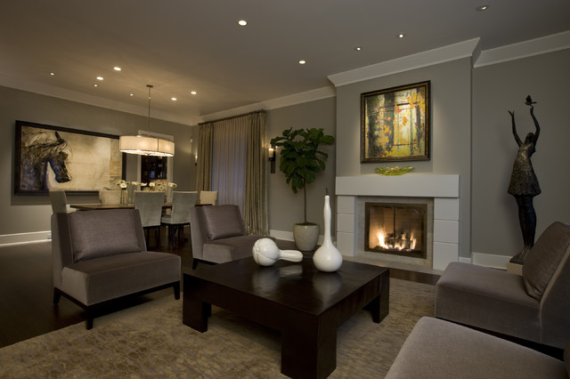 Honore-Transitional Living Room & Dining Room