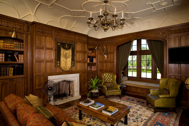 Hoover residence traditional living room Tudor home interior design ideas