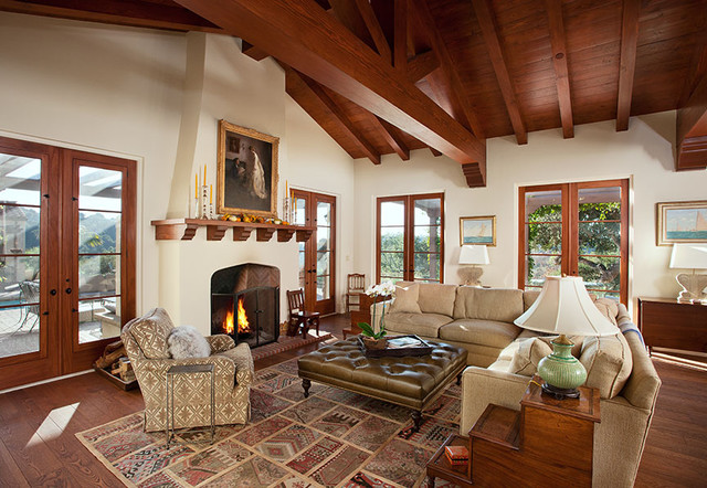 Hope Ranch Spanish Style Custom Home Family Room ...