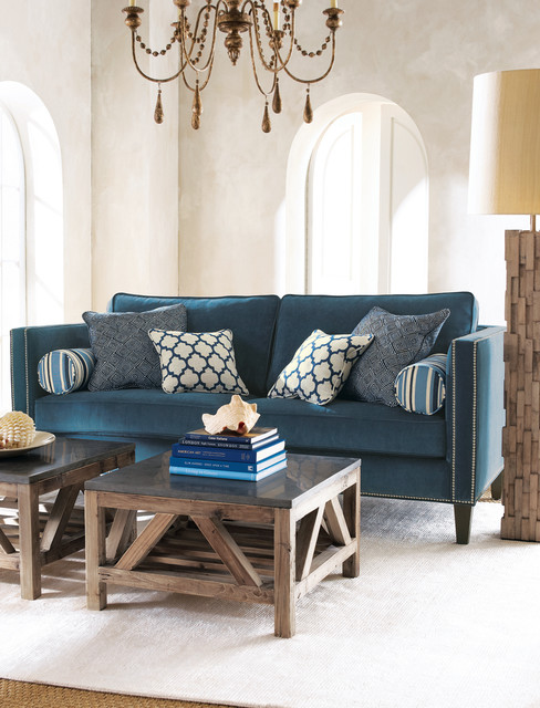 navy and teal living room horchow 20020