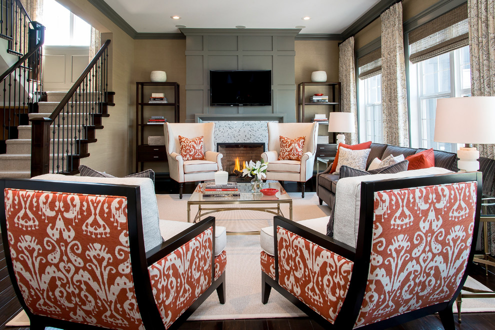 Inspiration for a contemporary living room remodel in Other with a standard fireplace and a wall-mounted tv