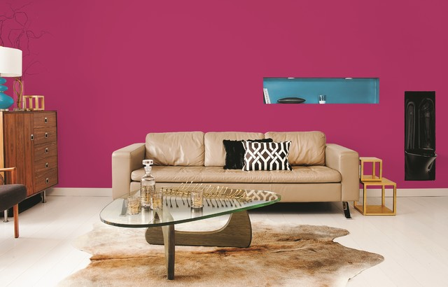 hot pink paint color contemporary living room by ppg pittsburgh