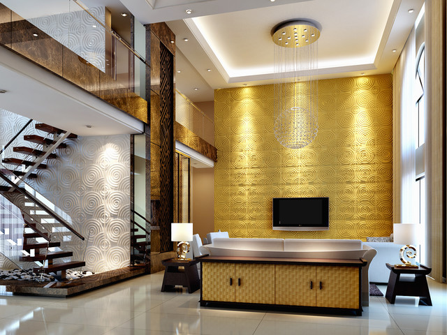house, 3d board wall decoration - Modern - Living Room - Other ...