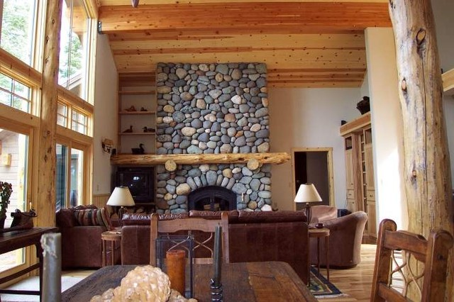 House design tahoe mountain lodge style traditional living room portland by sherman design for Lodge style living room furniture