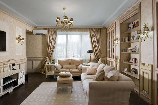 Inspiration for a mid-sized timeless formal dark wood floor living room remodel in Other with beige walls and a wall-mounted tv