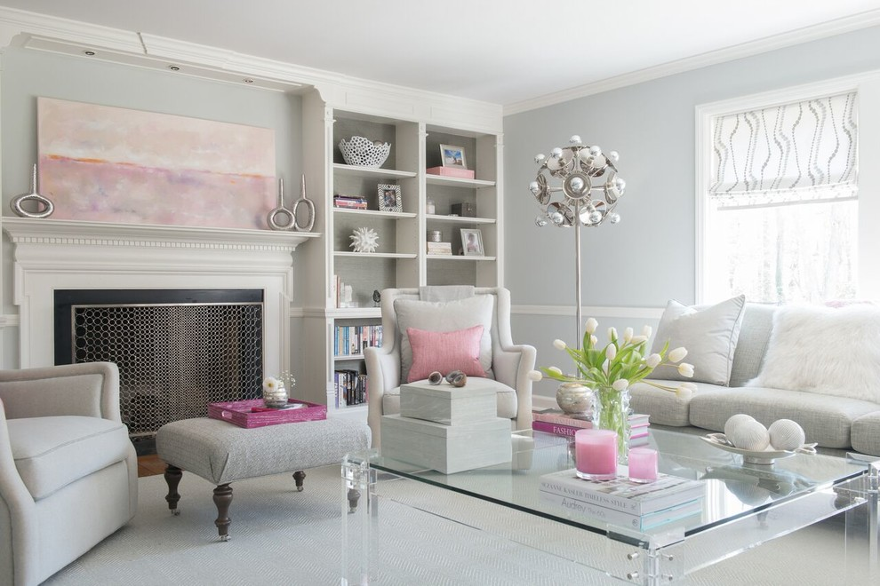 Inspiration for a medium sized traditional formal enclosed living room in DC Metro with grey walls, a standard fireplace, carpet, a wooden fireplace surround, no tv and brown floors.
