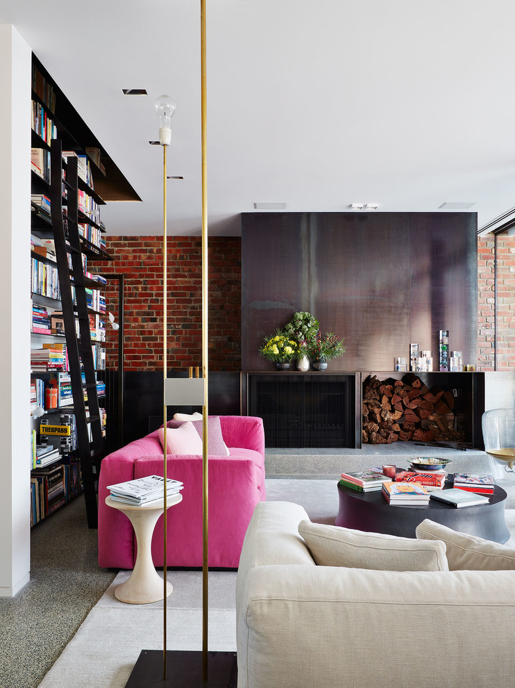 Living room - mid-sized contemporary open concept living room idea in Melbourne with a standard fireplace and a metal fireplace
