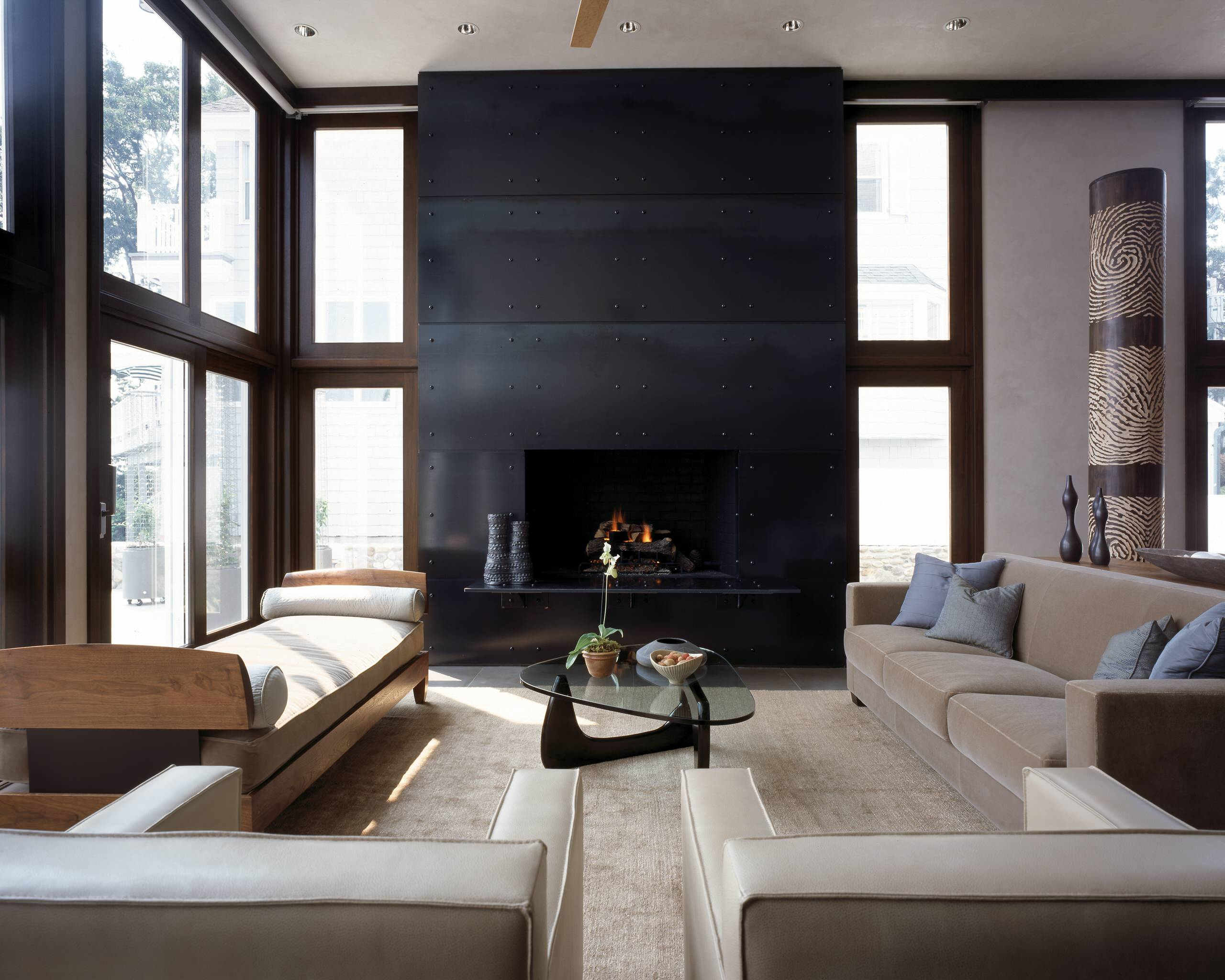Blackened Steel Fireplace Surround Houzz, Black Steel Fireplace Surround