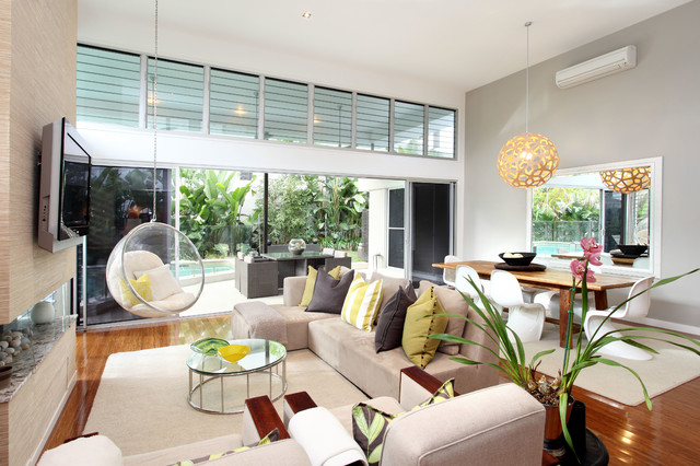 House photography contemporary living room brisbane for Hanging chair living room
