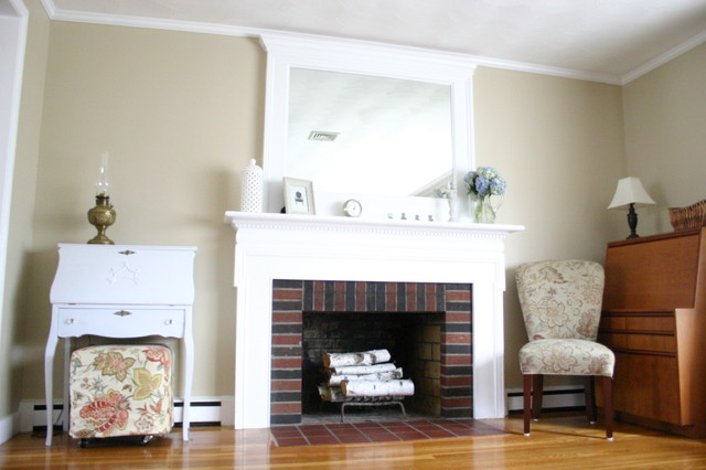 Got an unmovable mirror over your fireplace? Use trim to turn it into a feature that will turn heads