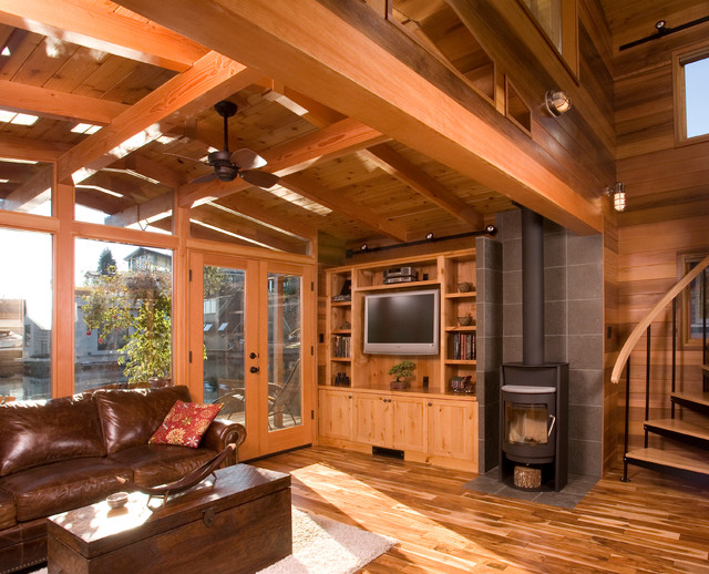 Houseboat -- a Seattle Floating Home Renovation rustic-living-room