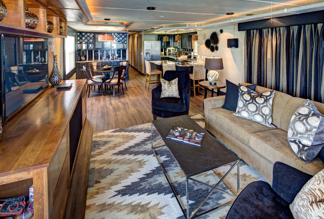Ordinaire Houseboat Contemporary Living Room