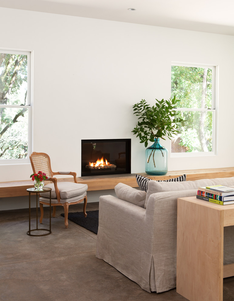 Example of a transitional concrete floor living room design in San Francisco