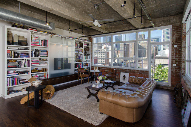 Houston Loft Industrial Living Room