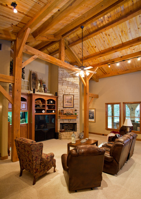 Houston timber frame traditional living room