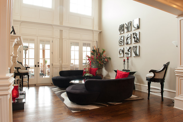 Houzz tour at home in buckhead for Black furniture living room ideas