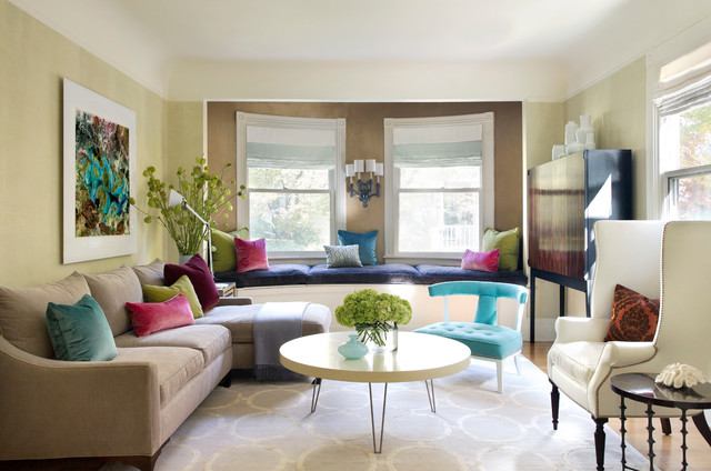 Houzz Tour Colorful Update Enlivens Victorian Era House Transitional Living Room Boston