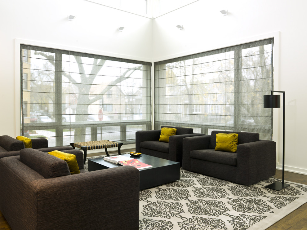 Living room - large modern living room idea in Chicago with white walls