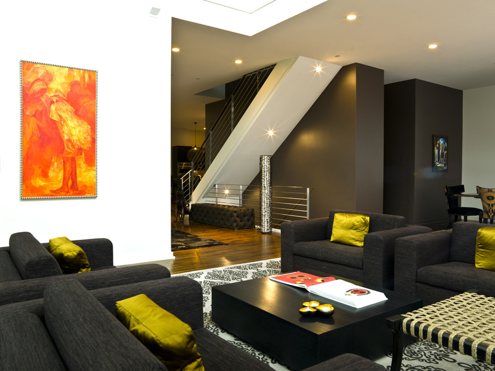 Inspiration for a modern living room remodel in Chicago with black walls
