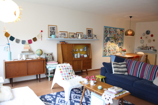 Living Room Vintage houzz tour: vintage inspired apartment shines with creativity
