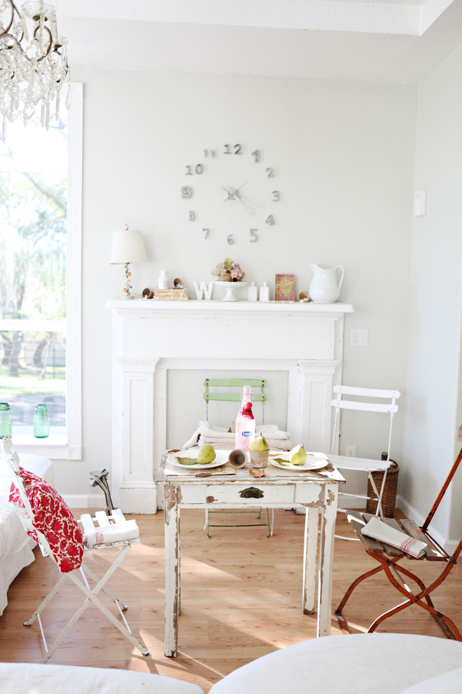 Living room - shabby-chic style living room idea in Other with gray walls