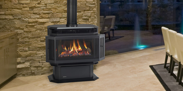 Hudson Bay Gas Stove Contemporary Living Room By