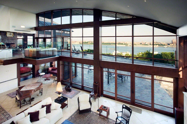 Hudson River View with Solar Shading modern-living-room