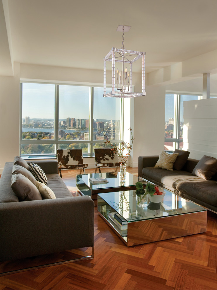 Mid-sized trendy formal and open concept dark wood floor living room photo in Chicago with white walls and no fireplace