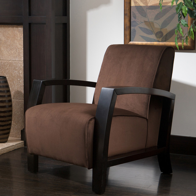 Hunter brown microfiber club chair contemporary living room los angeles by great deal for Microfiber accent chairs living room