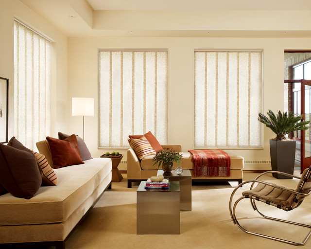 Hunter Douglas Contemporary Living Window Treatments and Draperies traditional-living-room