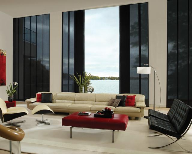 Hunter Douglas SkylineR Gliding Window Panels Modern Living Room