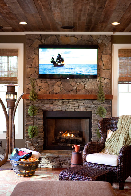 Hunting Lodge Rustic Living Room Raleigh By C H I