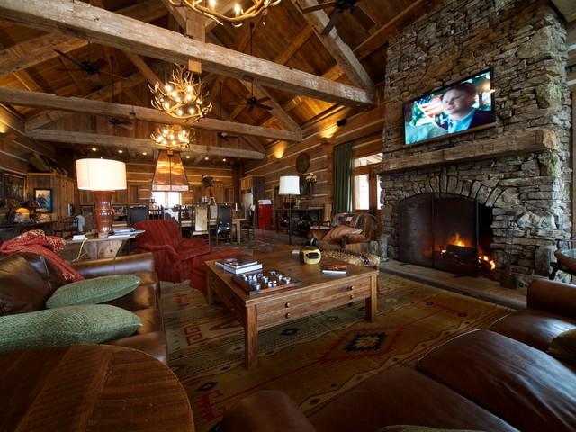 Hunting Lodge Great Room Living Room Denver By Reclaimed Designworks