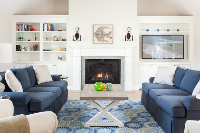 Hyannis Cottage Renovation beach-style-living-room
