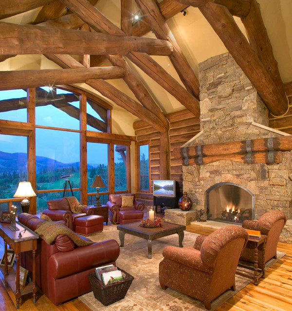 Hybrid Log House On Golf Course Traditional Living Room