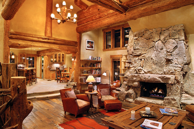 Hybrid log house traditional living room vancouver for Log home interior designs