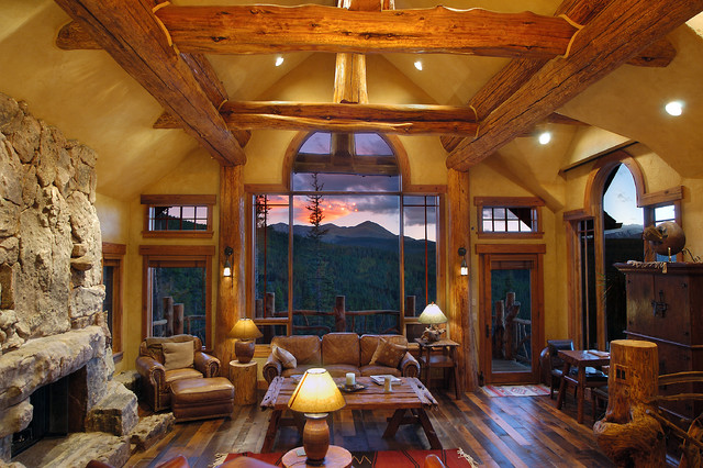 Hybrid Log House rustic-living-room