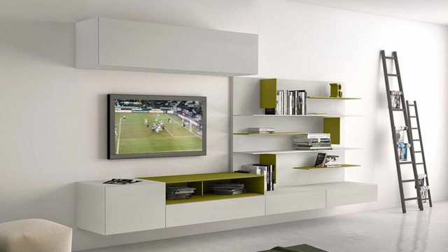 I modulart tv wall unit by presotto italy modern for Tv set design living room