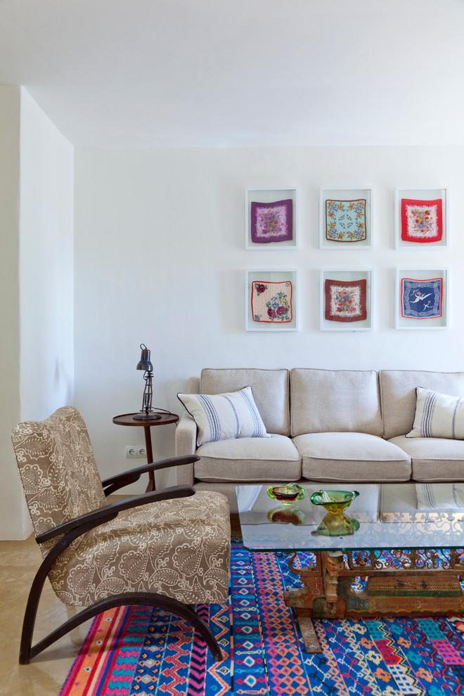 Living room - mediterranean living room idea in London