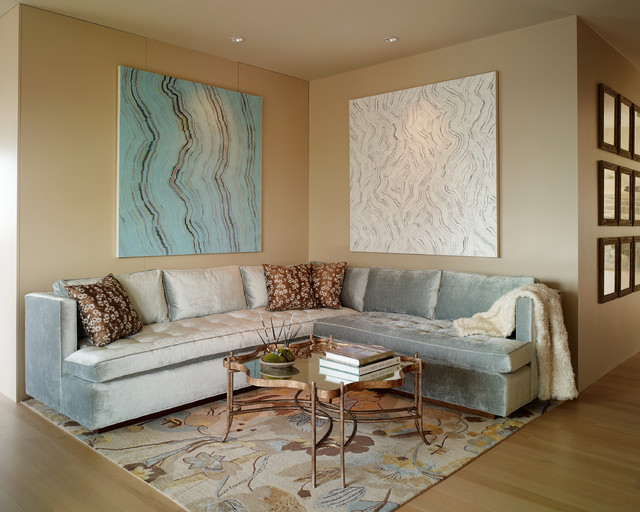 Ice Blue Tufted Bench Sectional Transitional Living Room