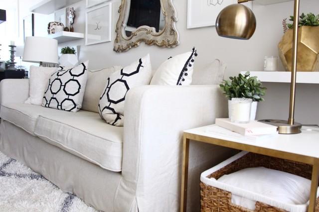 IKEA Karlstad Sofa Cover in Linen Long Skirt Slipcovers - Clásico ...