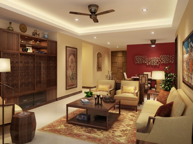 India residential living room for Living room designs indian style