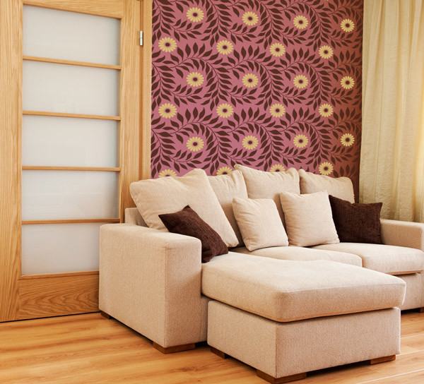 Indian Paisley Wall Stencil Projects Asian Living Room San