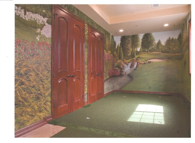 Indoor golf green and driving net - Living Room - Denver - by ...