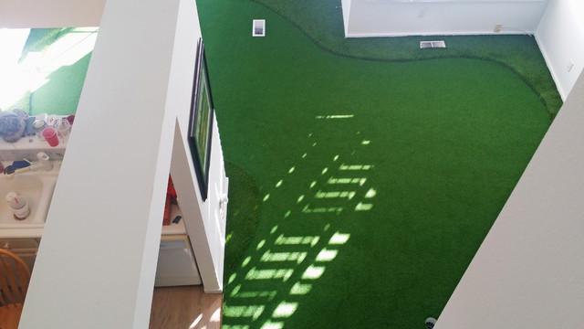 Indoor Putting Greens Contemporary Living Room