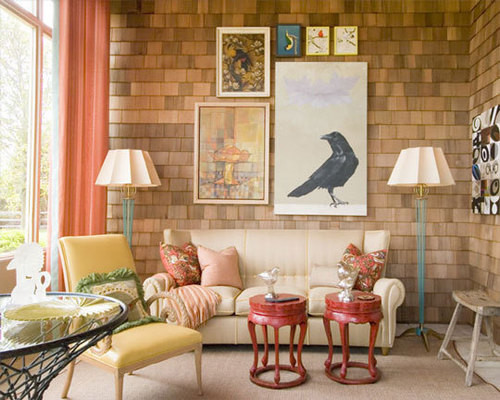 indoor shingled wall eclectic living room