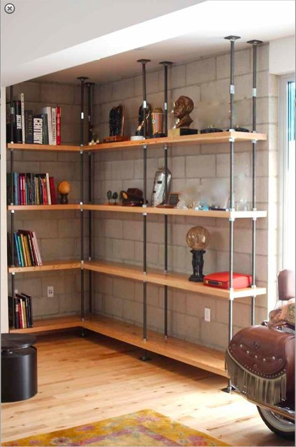 Industrial Built In Metal And Reclaimed Wood Bookcases Living Room Los Angeles By Mortise