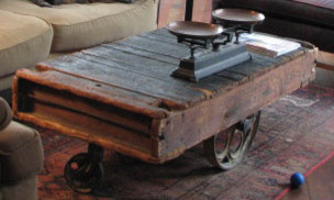 Industrial cart coffee table eclectic living room