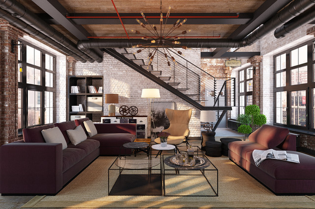 Industrial living room design ideas for Industrial living room ideas